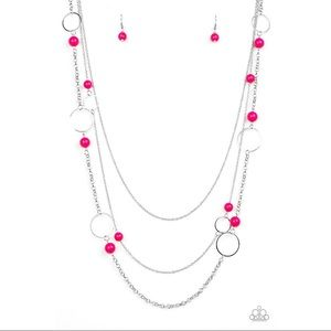 Long Silver Necklace with Pink Beads